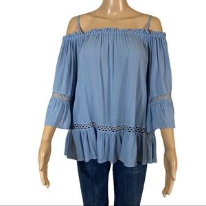 THE IMPECCABLE PIG Blue Cold Shoulder Top Rayon